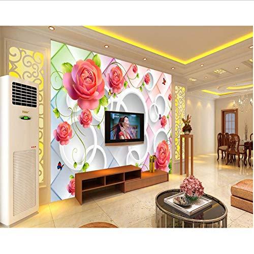 Dalxsh Aangepaste Behang Muur Grote Rose Groene Rose Vaas Foto's 3D Tv Kamer Achtergrond Wandbehang Woonversiering 350 x 250 cm.
