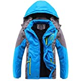Vinmin Valentina Winter Latest Boys Thicken Fleece Hooded Jacket Warm Quilted Coat Outdoor Blue 12 Height 56 inch 59 inch