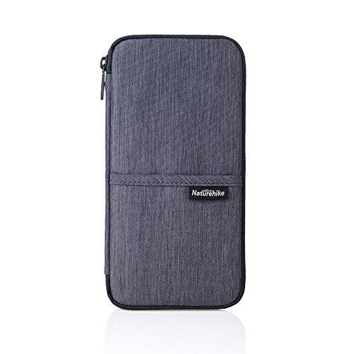 Portapassaporto da viaggio impermeabile documenti di famiglia organizer per carte di credito con fascia-grey