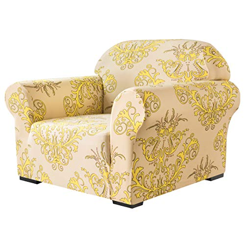 subrtex Weicher Stretch-Sofabezug, 1 Stück, Bedruckt, waschbar, Stuhl, Möbelschutz, elastische Couch für Kinder/Hunde (Stuhl, gelb)