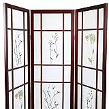 Magshion Oriental Room Divider Hardwood Shoji Screen (3 Panel Small Flowered-Cherry)