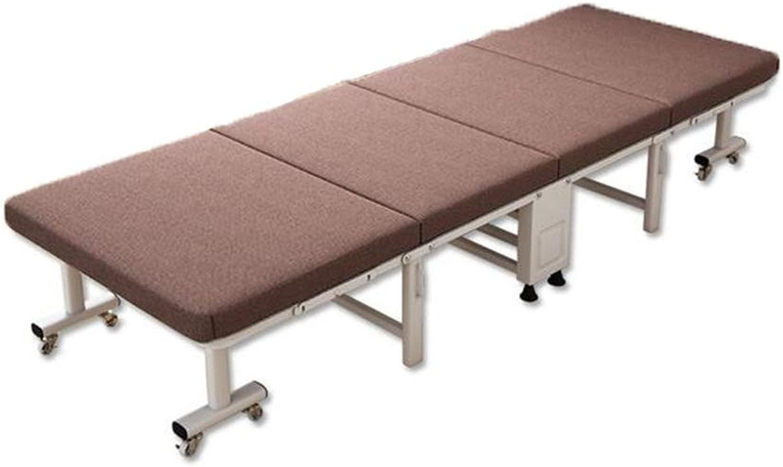 シングル折りたたみベッド環境に優しい肌麻布生地高密度スポンジ塗装4つ折り折りたたみベッド190 * 60 cm,ブラウン