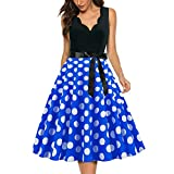 EMPERSTAR Vestidos De Fiesta para Mujer con Cuello En V Vestido Ligero De Lunares Estilo Retro Vintage Azul M