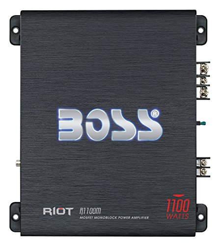 BOSS Audio Systems R1100MK Car Amplifier and 8 Gauge Wiring Kit - 1100 Watts Max Power, 2-4 Ohm Stable, Class A/B, Monoblock, Mosfet Power Supply, Remote Subwoofer Control