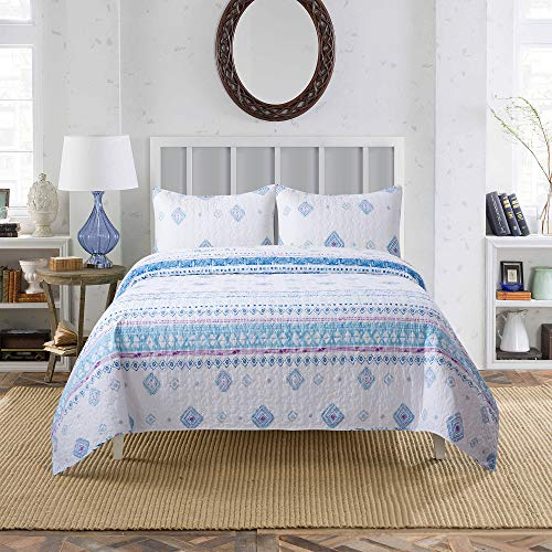 Soul & Lane Morning Glory 100% Cotton Watercolor 3-Piece Quilt Set - King with 2 Shams | Modern Quilted Bedspread