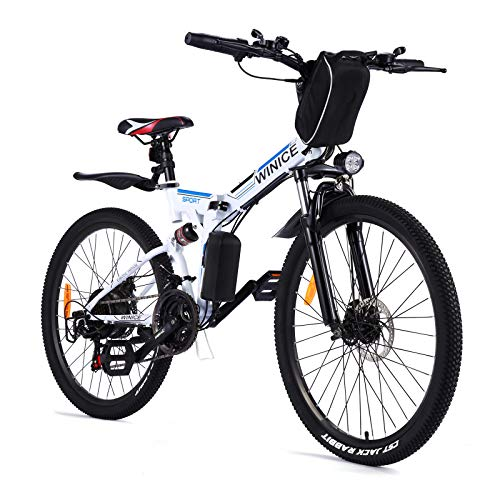 Vivi Folding Electric Bike Electric Mountain Bicycle 26' Lightweight 350W Ebike, Electric Bike for Adults with Removable 8Ah Lithium Battery,Professional 21 Speed Gears (White)
