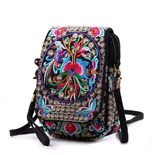 LAANCOO Ethnic Style Embroidered Crossbody Bag, Womens Embroidered Flowers Cross Body Bag, Canvas Crossbody Bag Small Coin Purse Zipper Purse for Women Girls