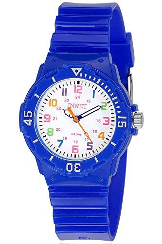 INWET Orologio Bambini,Due modi di visualizzazione del tempo,Numeri colorati,Orologi per Bambini, Blu