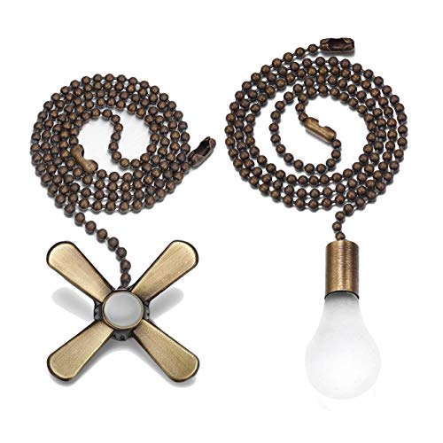 Bronze Light and Fan Cord Ceiling Pull Chain with 2pcs 12-inches Extension Chains