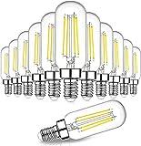 Dimmable T6 LED Bulbs 60W Equivalent, 6W 600lm E12 Edison Light Bulb Candelabra Base, 5000K Daylight White, Clear Vintage Tubular Bulb, Small Filament Bulb for Chandelier Ceiling Light, 12-Pack