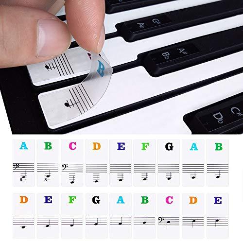 Gwolf Piano toetsenbord stickers voor 49/54/61/88 toetsen, toetsenbordnotastickers, transparante verwijderbare pianotoetsstickers elektronisch pianotoetsenbord muzieknoten sleutelstickers