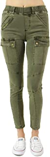 Grace and Lace Ladies Skinny Stretch Jeans Cargo Jeggings for Women Olive Green