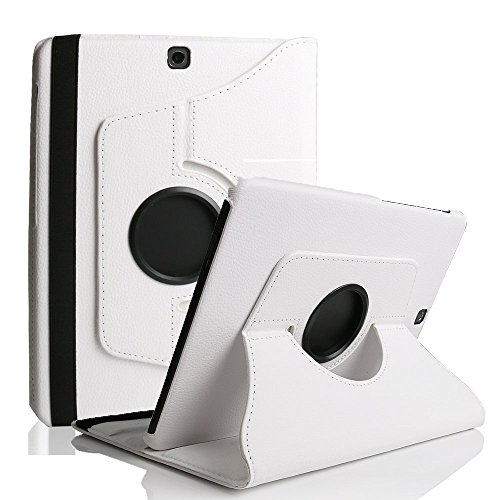 Suney PU Leather Galaxy Tab S2 9.7 Case and Cover (SM-T810/SM-T815),360 Degree Rotating Multiple Viewing Angles for Samsung Galaxy Tab S2 9.7 - White