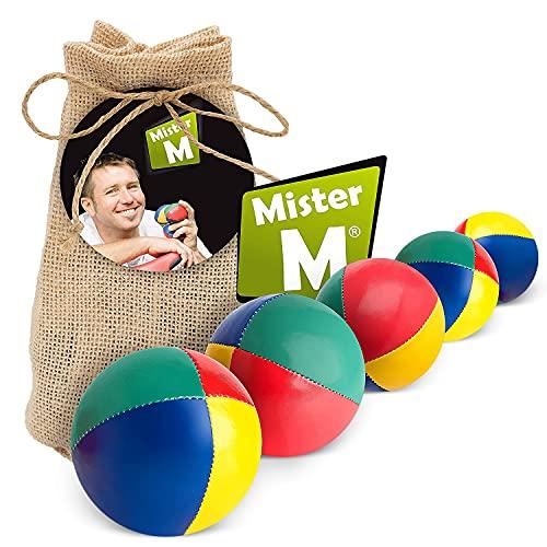 Mister M Jonglierbälle Anfänger 5er Set + Gratis Online Lehrvideo - 100g pro Jonglage Ball - Jonglierbälle Kinder Set im praktischen beigen Jutebeutel - Jonglieren Set auch geeignet für Profis