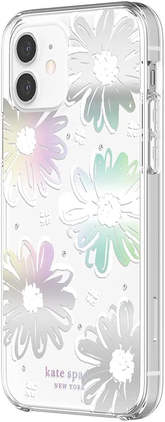 kate spade new york Protective Hardshell Case for iPhone 12 & iPhone 12 Pro - Daisy Iridescent Foil/White/Clear/Gems