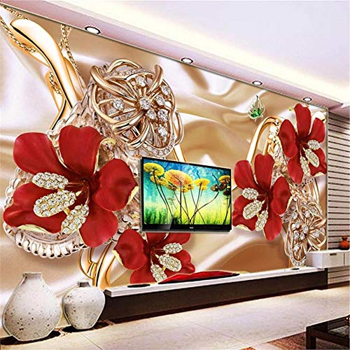 JIYOTTF 3D Foto TV Wallpaper Wandmalerei Dekoration WandaufkleberRot Mode Floral Muster(W 300 x H 210cm) Wandbild Tapete 3D Wohnzimmer Schlafzimmer Home Decor Selbstklebende wasserdichte Aufkleber Mo