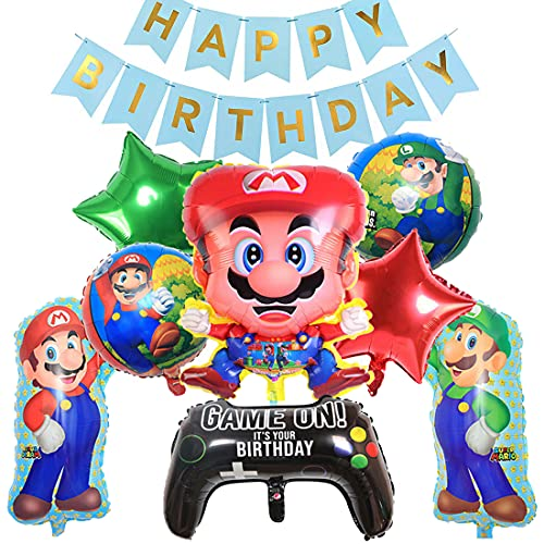 SUNSK Globos para Super Mario Globos Cumpleaños Decoracion Mario Bros Globos de Foil Banner Happy Birthday Banderolas para Fiesta de Cumpleaños Baby Shower Niño 10 Piezas