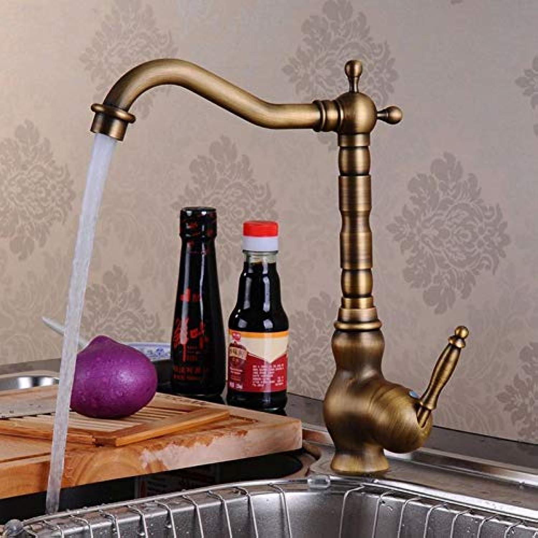 WSLWJH Waschbecken Wasserhahn Antique Brass Küchenarmaturen High Arch Tap Klassische Retro Water Crane Kitchen 360 Grad Swivel Hot Und Cold Mischbatterien