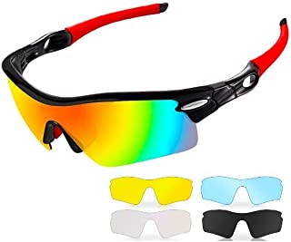 Polarized Sport Sunglasses,UV 400 Protection Unbreakable Sports Glasses with 5 Set of Interchangeable Lens, Sport Eye Prot...