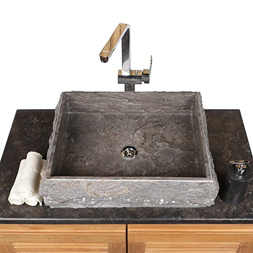 wohnfreuden Marmor Aufsatzwaschbecken 50x40x10 cm cm grau eckig außen gehämmert innen poliert ✓ Handwaschbecken Steinwaschschale Naturstein-Aufsatzwaschbecken für Bad Gäste WC