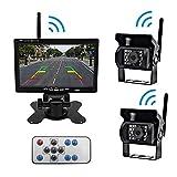 Copia de seguridad de la cámara digital inalámbrico Monitor del sistema Kit, 7'monitor de la cámara HD + IP67 impermeabilizan la visión nocturna de visión trasera inversa para camiones, autobuses