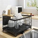 Cabina Home - Escurreplatos con bandeja extraíble, acero inoxidable, para suministros de cocina para el hogar, una y doble capa.