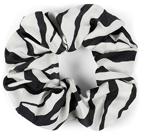 styleBREAKER Dames XXL haarband met zebrapatroon in animal print stijl, elastiek, scrunchie, vlechtelastiek, haarband 04027018, Farbe:Zwart-wit
