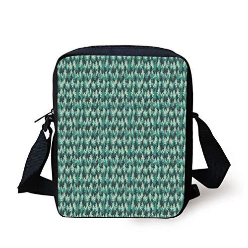 Pine Tree Kids Crossbody Messenger Bag Purse,Abstract Illustration of an Evergreen Coniferous Forest,Cross Body Bags boys Girls 3D Printed Shoulder Bag,Dark Green Mint Green and Sea Green