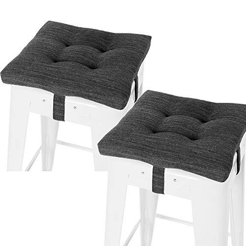 "baibu Set of 2 Square Seat Cushion, Super Soft Bar Stool Square Seat Cushion with Ties - Cushion Only (Gray-Black, 12"" (30CM) 2PC)"