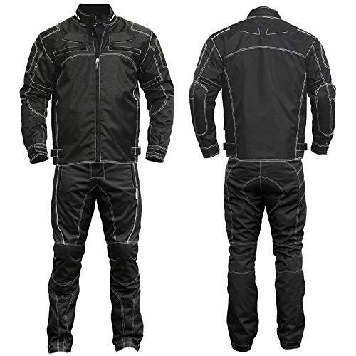 German Wear 2-teiler Motorradkombi Cordura Textilien Motorradjacke & Motorradhose Schwarz, 48/S