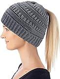 Hatstar Damen und Mädchen Wintermütze Strickmütze mit Zopfloch für Pferdeschwanz Ponytail Beanie, dunkelgrau, W30