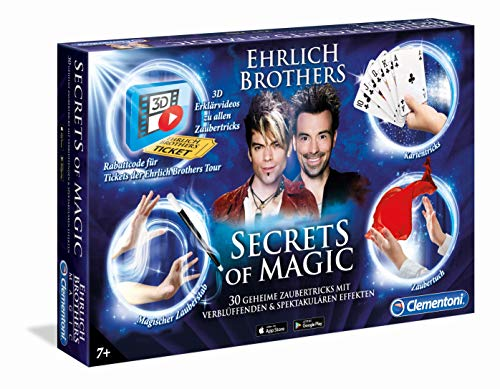 Clementoni 59048 Ehrlich Brothers Secrets of Magic, Zauberkasten für Kinder ab 7 Jahren, magisches Equipment für 30 verblüffende Zaubertricks, inkl. 3D Erklärvideos