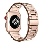 Fintie Band Compatible with Apple Watch 44mm 42mm Series 6/5/4/3/2/1/SE, Premium Stainless Steel Metal Replacement Wrist Strap Bracelet Compatible with All Versions 44mm 42mm Apple Watch (Rose Gold)