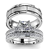 Two Rings His Hers Wedding Ring Sets Couples Matching Rings Women's 2pc White Gold Filled Square CZ Wedding Engagement Ring Bridal Sets & Men's Titanium Wedding Band