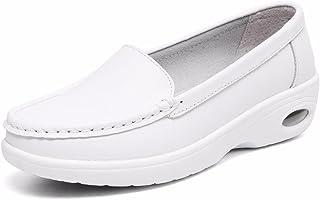 Moonwalker Women's Leather Health Care Slip-On Loafers Nurse Shoes (4.5 D(M) US,White3)