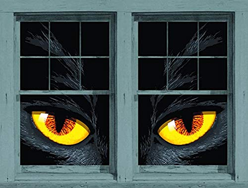 """Window Poster Halloween Yellow Cat Eyes by WOWindows USA-made Decoration Includes 2 Reusable 34.5""""x60"""