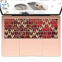 igsticker MacBook Air 13inch 2018 専用 キーボード用スキンシール キートップ ステッカー A1932 Apple マックブック エア ノートパソコン アクセサリー 保護 004002 チェック・ボーダー チェック 赤 ブラウン