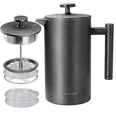 Secura French Press Coffee Maker, 304 Grade Stainless Steel Insulated Coffee Press with 2 Extra Screens, 34oz (1 Litre), Grey