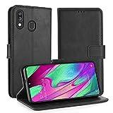 Simpeak Funda Compatible con Samsung Galaxy A40, Funda Libro Cuero Magnetica Carcasa con Tapa Soporte Plegable/Ranuras Compatible con Tarjetas y Billetes/Acceso - Negro