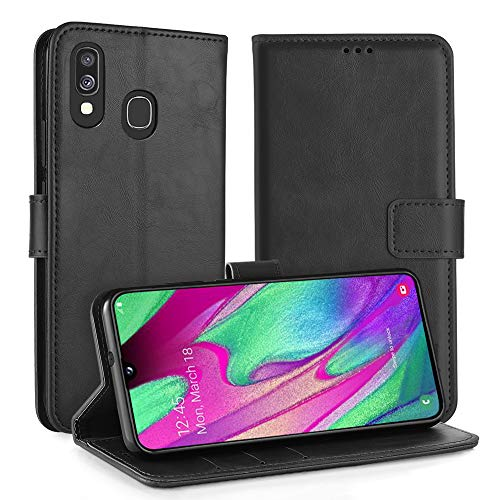 """Simpeak Custodia Compatibile per Samsung Galaxy A40 5,9"""", Cover Compatibile con Samsung A40 in Pelle Portafoglio con Supporto Flip Caso [Supporto Stand] [Chiusura Magnetica], Nero"""