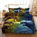 LIYIMING Godzilla vs Kong - Juego de ropa de cama de 3 piezas con funda nórdica y funda de almohada (01,155 x 220 cm + 50 x 75 cm x 2)