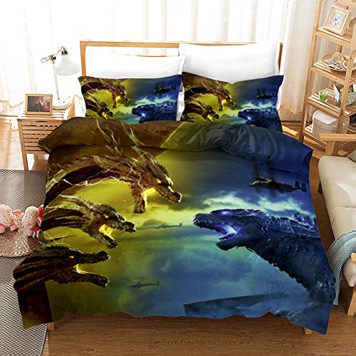LIYIMING Godzilla vs Kong - Juego de ropa de cama de 3 piezas, funda nórdica con funda de almohada 3D Godzilla y funda de almohada de fácil cuidado (01,135 x 200 cm + 80 x 80 cm x 2)
