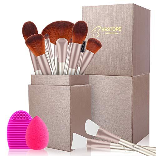 Pinselset Make up Pinsel Set Geschenkbox BESTOPE 16 Stück mit 2 Maskenpinsel Silikon 1 Schwamm und Bürste Wash Ei Gesichtspinsel Lidschattenpinsel Augenpinsel