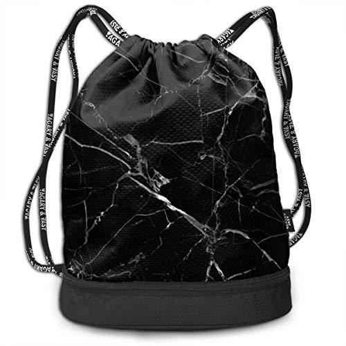 Stylish Drawstring Bag Bundle Backpack with Inside Zipper Pocket, Water-Resistant Sackpack for Men Women Girls Boys Students Teens (Black Marble Texture)
