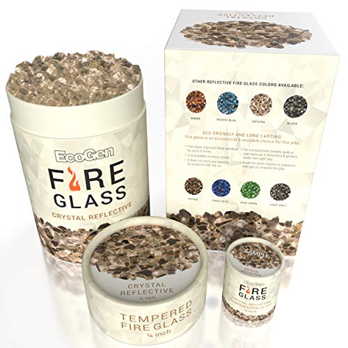 EcoGen Fire Glass for Outdoor Fire Pits and Indoor Fireplace, Color, Optimal Heat for Propane or Gas, Tempered and Reflective, Eco-Friendly Packaging, Crystal 1/4 inch Reflective 12 lbs.