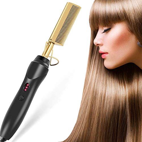 Hot Comb, Hair Straightener, 2in1 Electric Hot Comb for Afro Hair, Ceramic...