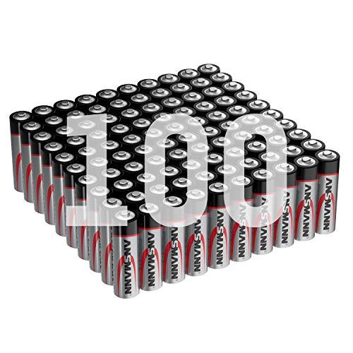ANSMANN Batterien AA 100 Stück - Alkaline Micro Batterie ideal für Lichterkette, LED Taschenlampe, Spielzeug, Fernbedienung, Wetterstation, Radio, Nachtlicht, Uhr