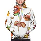 Canape Petit Snack et Apéritif Mens Hoodies Drôle Cool Graphic Sweatshirts Imprimé 3D Manches Longues Vêtements Casual avec Grandes Poches - Noir - XXL