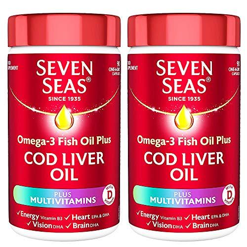 2 x 90 Caps Omega 3 Fish Oil Cod Liver Multivitamins Energy Heart Vision Brain