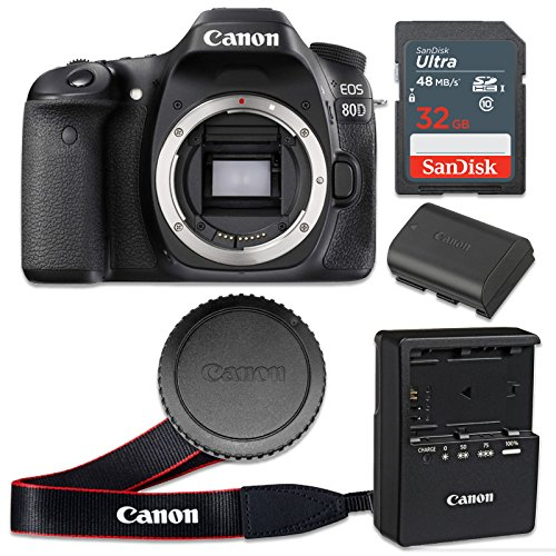 Canon EOS 80D 24.2 MP CMOS Digital SLR Camera with 3.0-Inch LCD (Body Only) - Wi-Fi Enabled (Renewed)